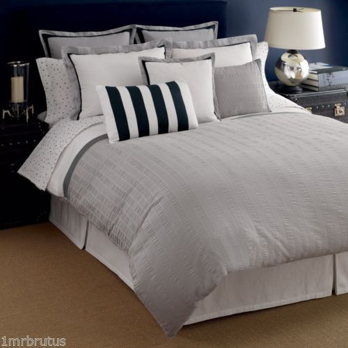 Tommy Hilfiger Easton King Comforter Set Pucker White Gray