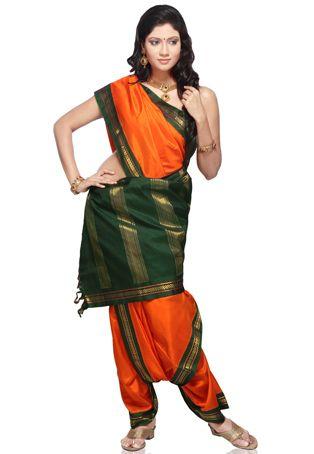 Buy Orange Handloom Pure Kanchipuram Silk Saree with Blouse online, work: Hand Woven, color: Green / Orange, usage: Wedding, category: Sarees, fabric: Silk, price: $432.92, item code: SUH13, gender: women, brand: Utsav