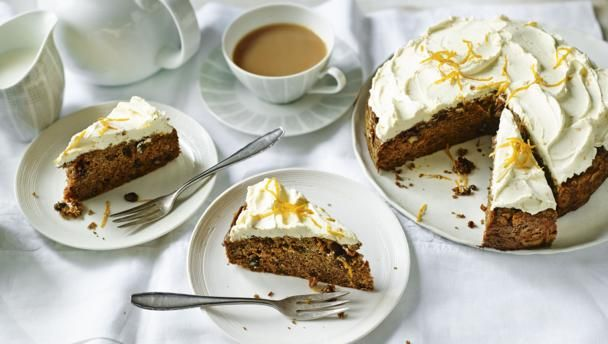 BBC Food - Recipes - Sugar-free spiced carrot cake with orange cream cheese frosting. Birthday cake for dad