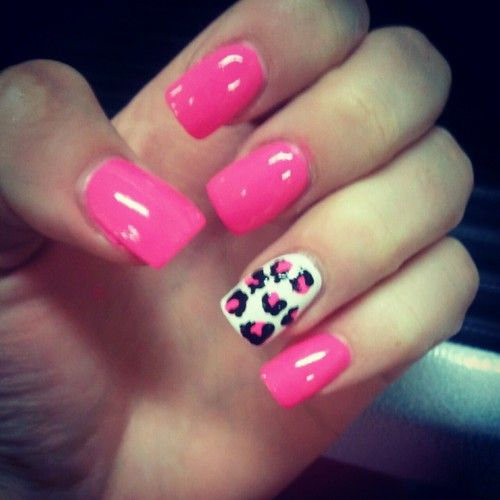 hot pink cheetah nail art | nails #pink #cheetah nails #pink and cheetah nails