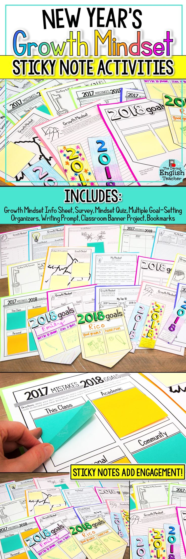 Help your students ring in the New Year with Sticky Note Growth Mindset Activities! These are ideal for goal-setting lesson plans and New Year's Resolutions!