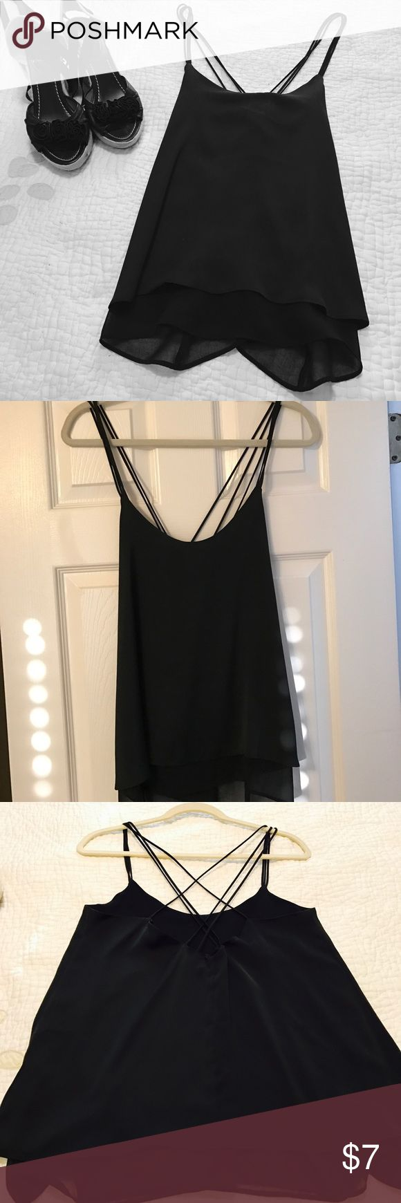 Chiffon Cami top. Spaghetti strap top with criss cross racerback. Aline. Never Worn H&M Tops Camisoles