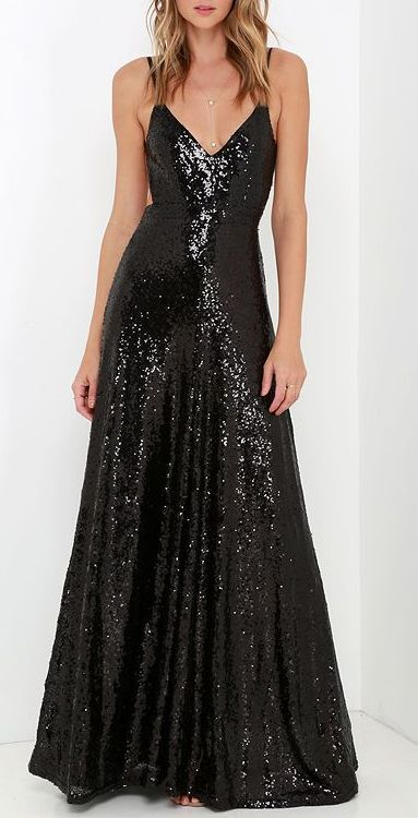 Charismatic Spark Black Sequin Maxi Dress