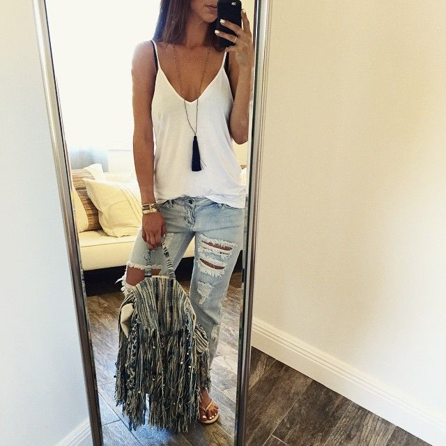 Back to basics in #boyfriendjeans + a white T + awesome backpack  #ohmstyle…