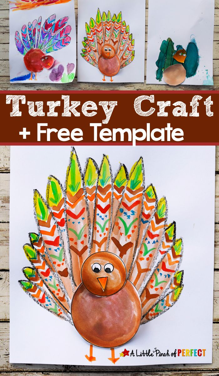 Thanksgiving Turkey Craft for Kids and Free Template: Children can color, paint, and assemble their own turkey to make a unique craft that's all their own. #thanksgiving #kids