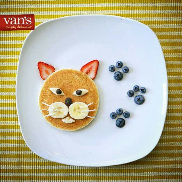 Via Van's Foods fb | Adorable idea for kid's breakfast. (Or for adult kitty lovers!! --Like me! ☺)
