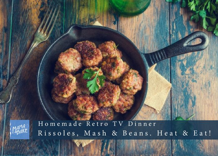 Homemade TV Dinner! Rissole, Mash and Beans – Heat and Eat!
