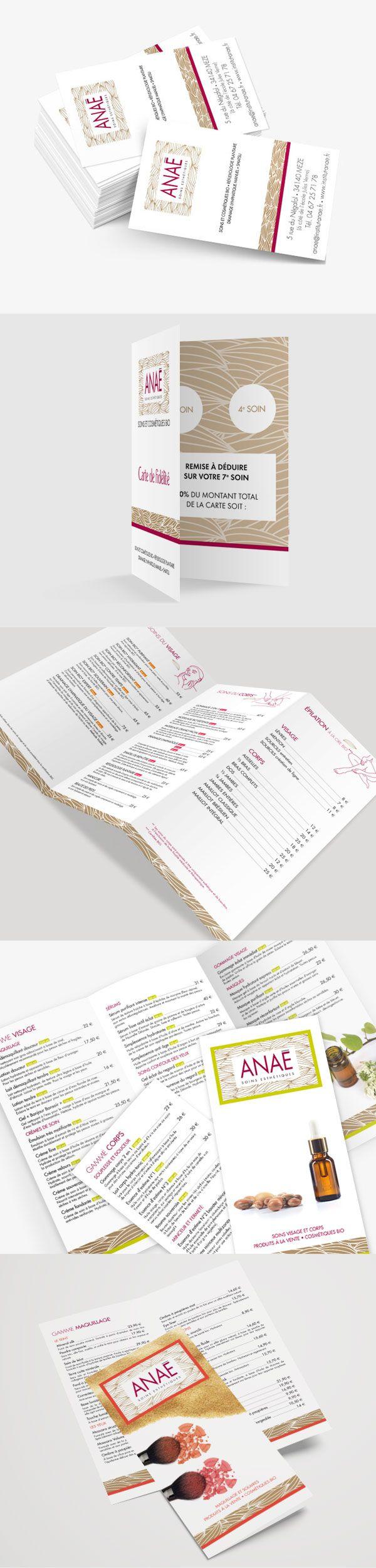 #agence rebelle - création livrets, carte de visite, carte de fidélité, carte de rendez-vous institut de beauté Anaé - #Print