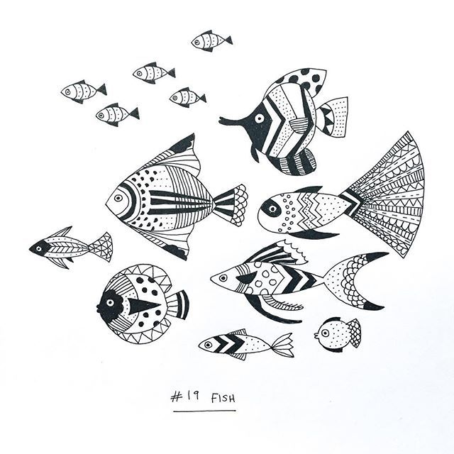 Drawing Challenge Day 19: Fish. I think these are a bit too fussy, hmn…