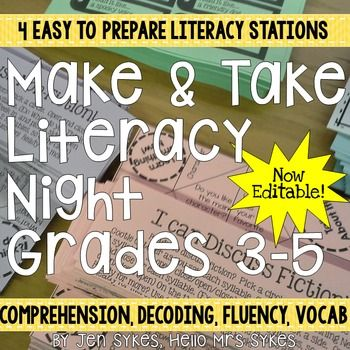Looking for parent resources in intermediate grades? All parents want to help their child, and a Make-and-Take night gives them an immediate tool they can use at home to support essential literacy skills. | Literacy Night Make and Take for Parent Involvement Editable
