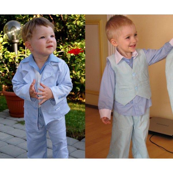 Garnitur niebieski dla chłopca - Ubranko dla dzieci nie tylko na większe okazje. W skład wchodzi marynarka, spodnie i kamizelka z muszką.