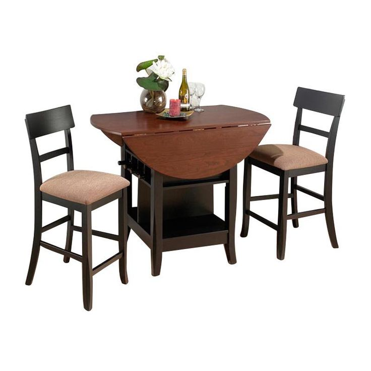 Jofran Counter Height Double Leaf Table And 2 Chairs   Brunette