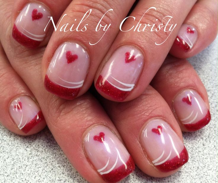 Red Heart Valentine French Shellac Nails Christy @ Mane Tamers