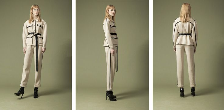 drop shoulder jacket , high rise trousers
