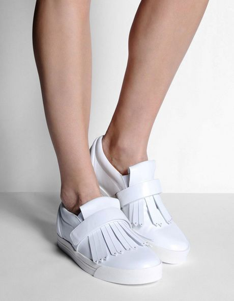 New MARC JACOBS White Leather Low-Top Fringed Sneaker Trainer Shoe 39 Fits 40/10 #MarcJacobs #Sneaker