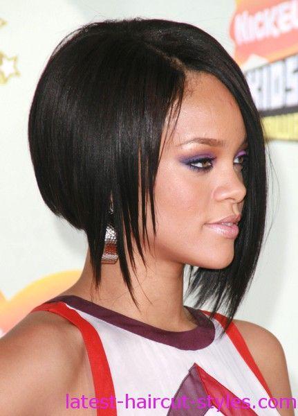 Rihannas Hairstyles Bob Shorter On One Side GET THE RIHANNA LOOK