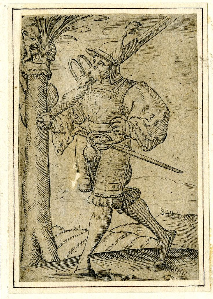 Playing-card, the jack of lions, from a complete unmounted pack of 52 playing-cards acquired at different times. The suits in this pack are parrots (for hearts), monkeys (for acorns), peacocks (for leaves), and lions (for bells). c.1550 Etching