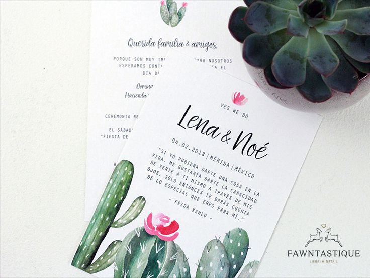 Mexican Wedding Invitation with Frida Kahlo and cactus