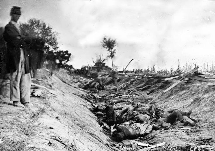 Alexander Gardner's famous photo after the Civil War battle at Antietam.