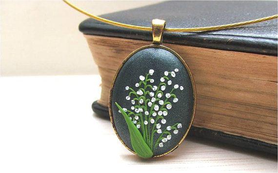 Arcilla del polímero joyería collar de lirio de los por Floraljewel