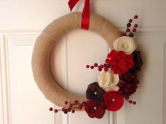 Holiday Wreath, Burlap Wreath, Red, Brown, Cream Felt Flowers, Floral Wreath, 12 inches, Door Wreath