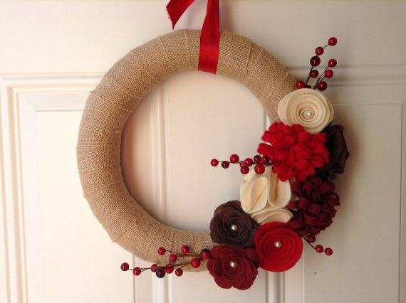 Holiday Wreath, Burlap Wreath, Red, Brown, Cream Felt Flowers, Floral Wreath, 12 inches, Door Wreath