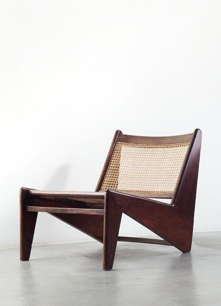 Pierre Jeanneret teak and cane lounge chair | 'Kangourou'