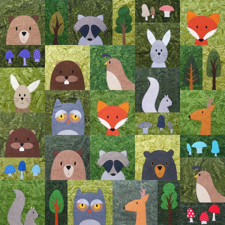 woodland animals quilt pattern - Google Search