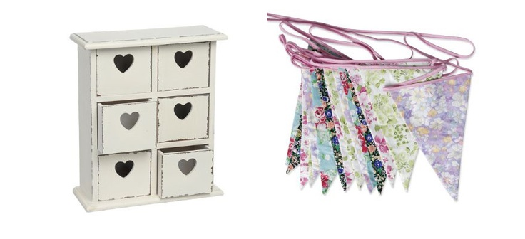 Antique mini chest and floral bunting featured on Lovely Little People both available at www.heartandhome.co.za