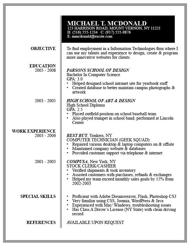 layoutformat idea - Best Buy Resume