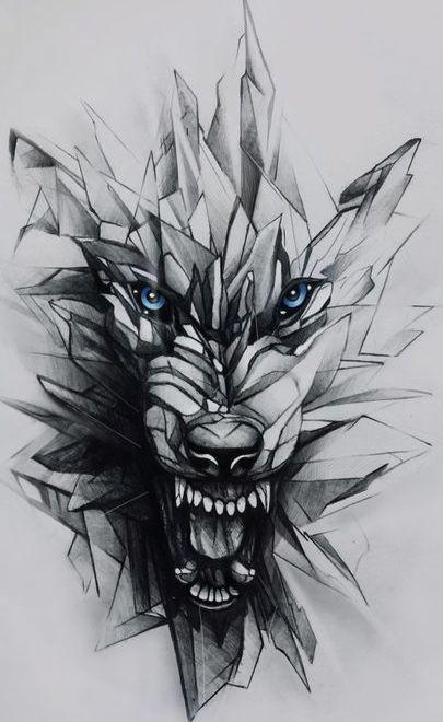 Dessin pour tatouage loup énervé. Effet géométrique #wolf #geometric #tattoo…
