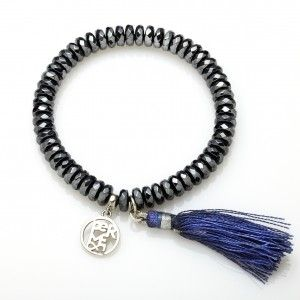 Original dark bracelet decorated with blue silk brush. It is made of little graphite beads. The silk brush makes it unusual. You can wear it both for casual clothes and for more elegant stylizations. Maybe you can give it to your best friend as a birthday gift?