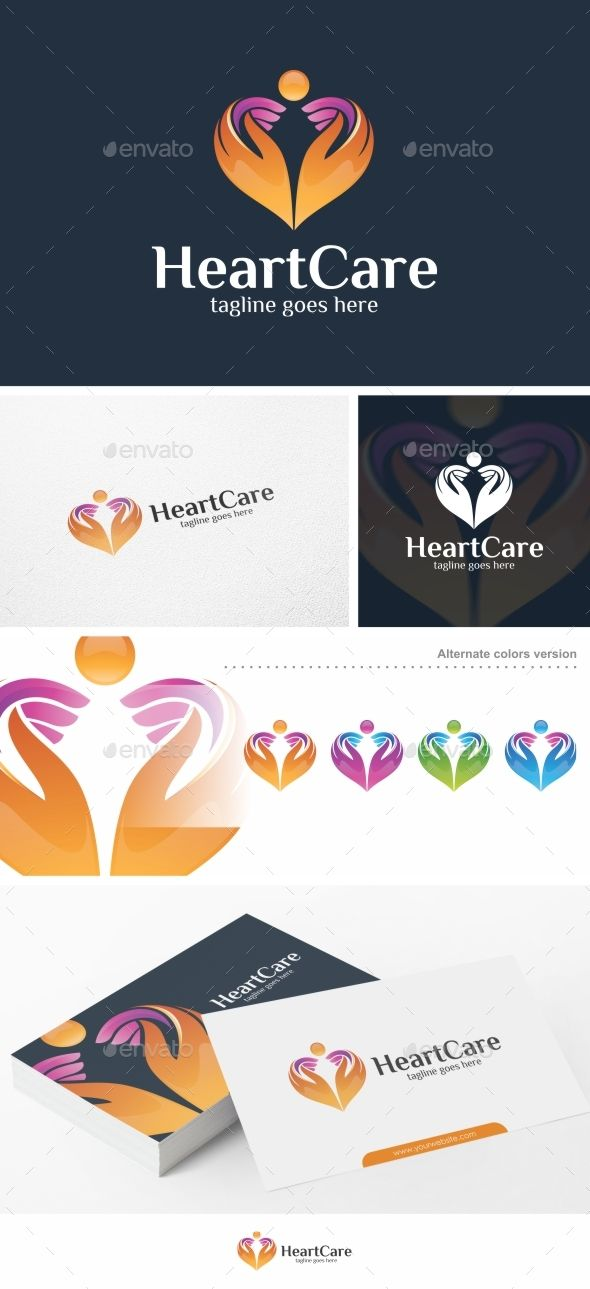 Heart Care Logo EPS Template #couple #people #hands • Download ➝ https://graphicriver.net/item/heart-care-logo-template/17843187?ref=pxcr