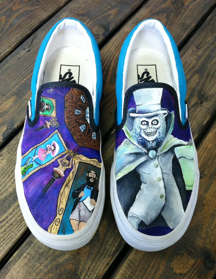 Disneyland haunted mansion hatbox ghost painted vans shoes for Home styles com