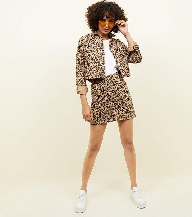 new arrival top-rated genuine 60% cheap Tan Leopard Print Denim Mini Skirt | scurt | Denim mini ...
