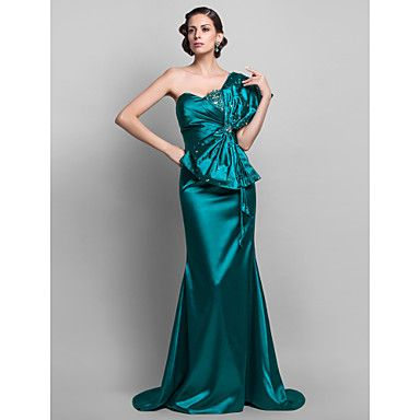 Formal+Evening+/+Military+Ball+Dress+-+Jade+Plus+Sizes+/+Petite+Trumpet/Mermaid+One+Shoulder+Sweep/Brush+Train+Stretch+Satin+–+NOK+kr.+964