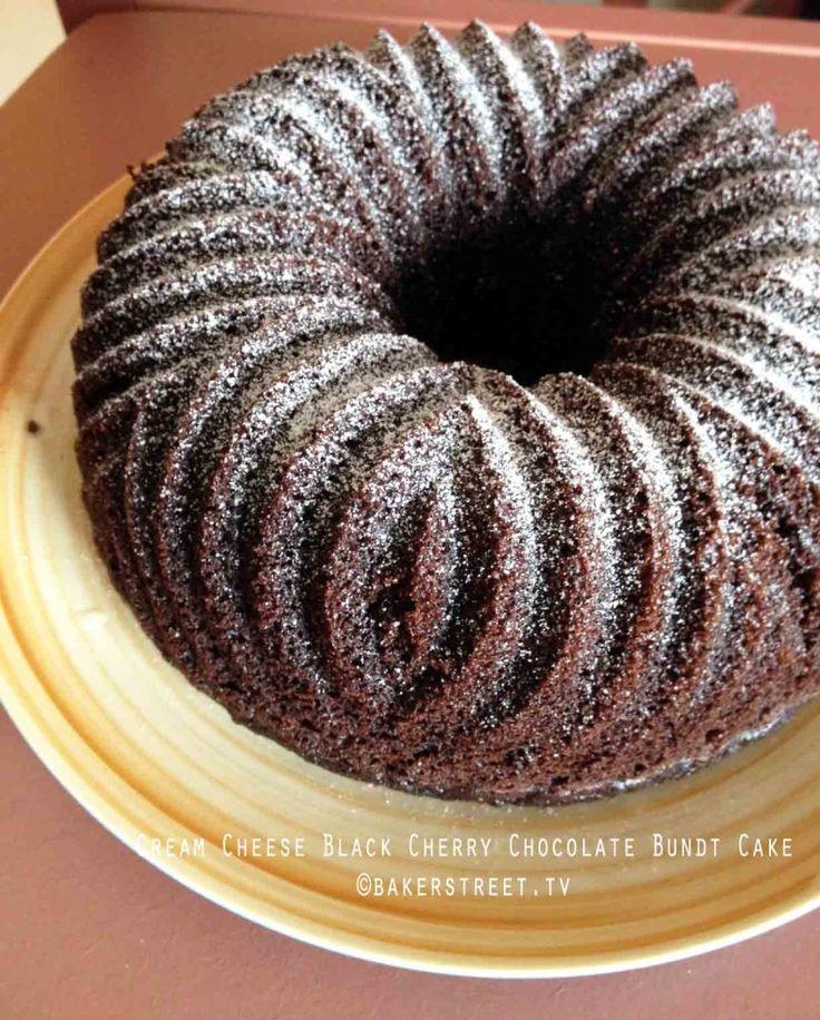 Cream Cheese Black Cherry Chocolate Bundt Cake #bundtamonth