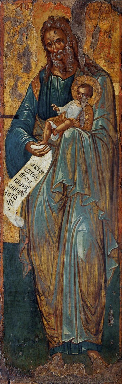 The Prophet Simeon the God-receiver ~ 16th century icon from the Church of St. Matthew of Sinai, City of Heraklion (Iraklion), Crete, Greece / Св. Симеон Богоприимец. Век: XVI Место хранения: Церковь св. Матфея Синайского в Ираклионе. Крит: