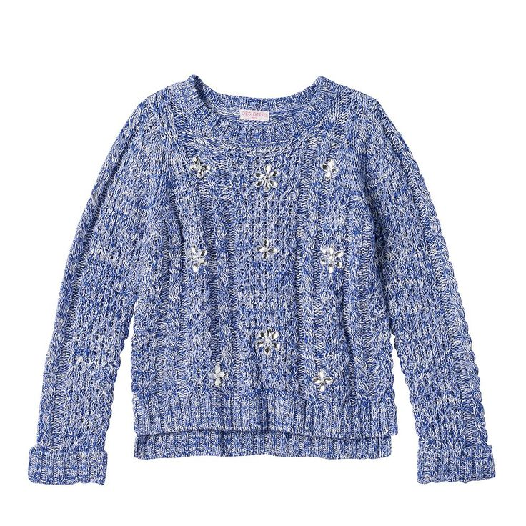 Design 365 Toddler Girl High-Low Cable Knit Sweater, Size: 2T, Dark Blue