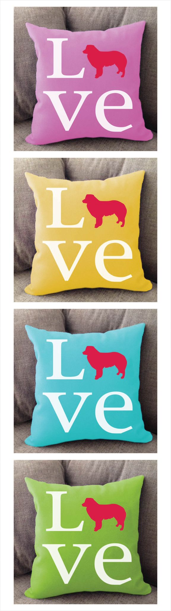 Border Collie Love pillow. Offered in multiple colors and 50+ dog breeds. Cover is machine washable and Made in USA.