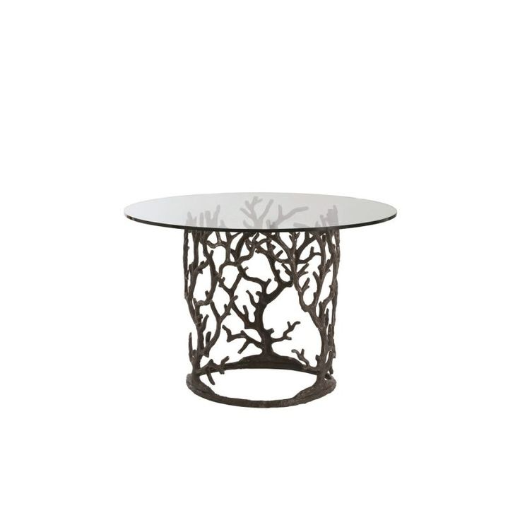 """Arteriors 3195-48 Ursula 48"""" Diameter Glass Top End Table Natural Iron Furniture Tables End Tables"""