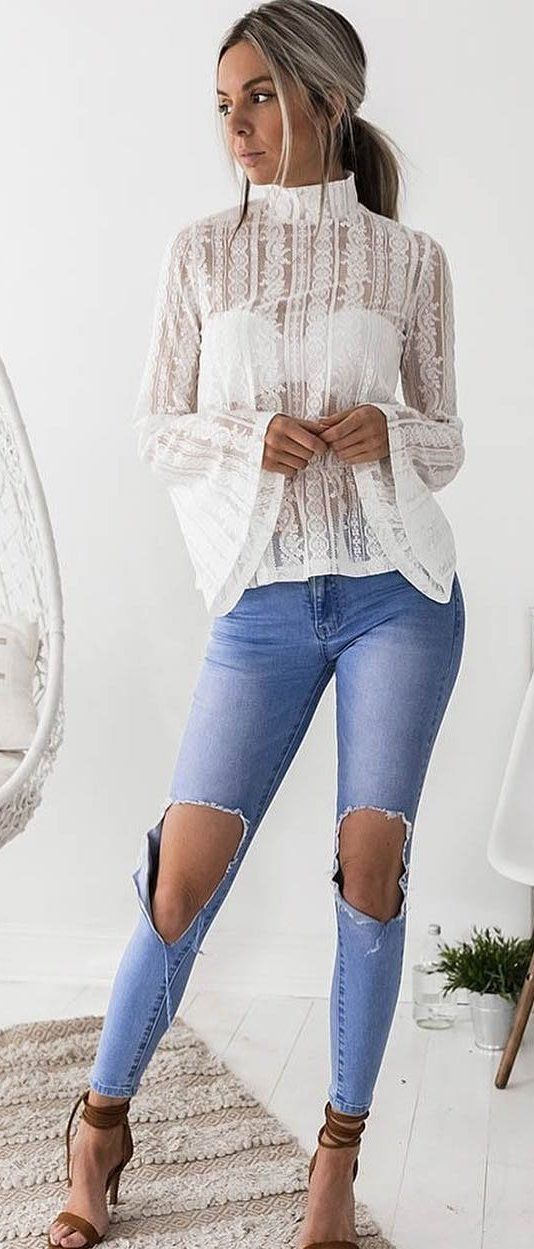 white lace long-sleeved shirt #spring #outfits