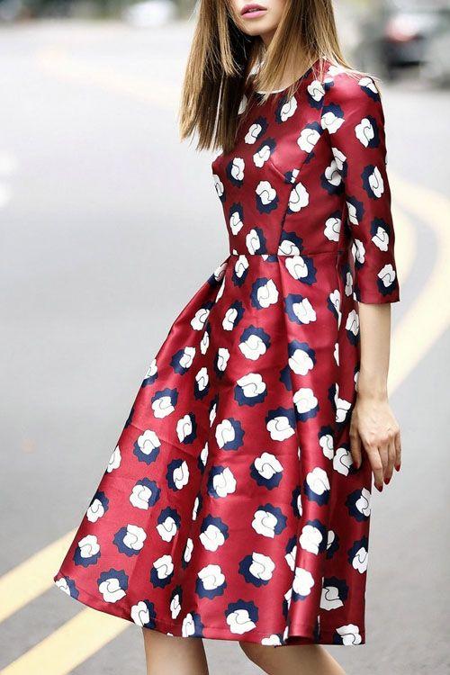 Burgundy Print, Jewel Neck, Half-Sleeve Dress.