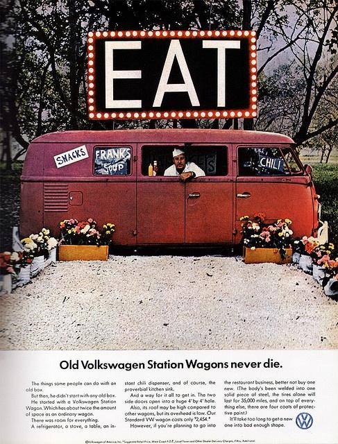 """1966 Magazine Advertisement """"Old Volkswagen Station Wagons never die"""" Volkswagen USA"""