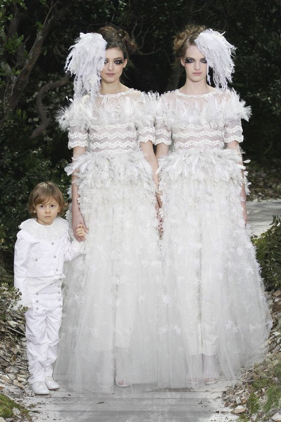 Karl Lagerfeld Chanel Spring/Summer 2013 Haute Couture show. Reminds us of bridesmaids dressing identically to the bride but is actually in support of gay marriage. Xx