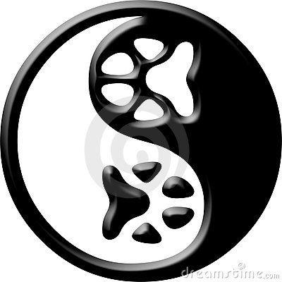 Yin de yang d impression de patte