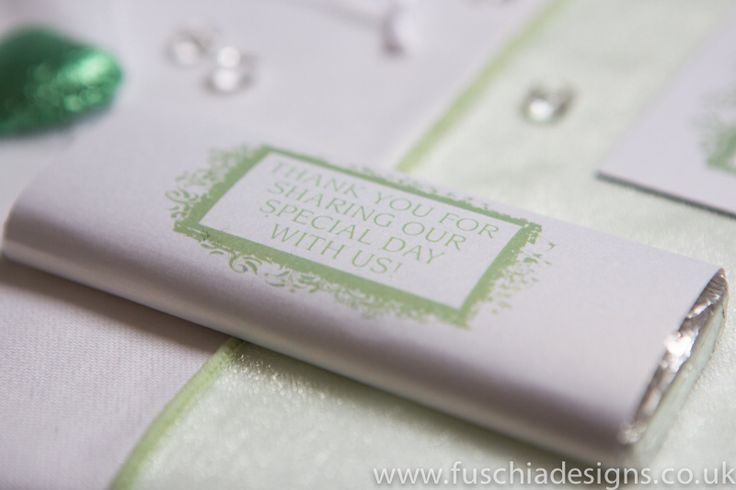 Personalised chocolate bar wedding favour. A great and personal table favour for your special day.  www.fuschiadesigns.co.uk