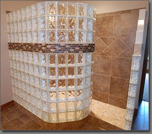 another idea for the shower.  I like the curve edge and leaving it open on the end.  Could fit in the bathroom