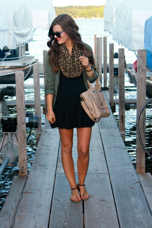 Black dress, army green jacket and leopard scarf - adorable
