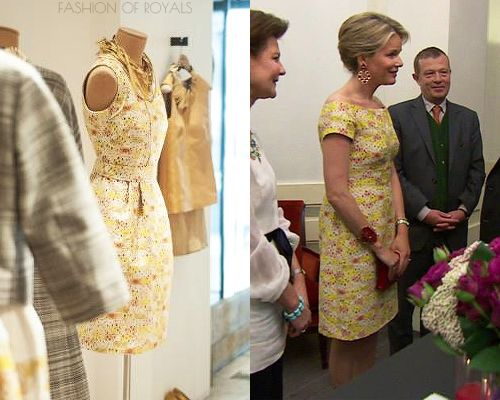 fashion of royals:  While attending the Queen Elisabeth Piano Competition 2013, Crown Princess Mathilde wore a modified Natan dress for the even, which she paired with red accessories.